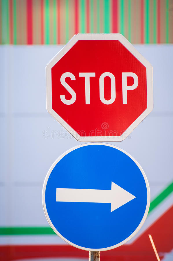 Download Stop and arrow sign stock photo. Image of signal, pole - 33529326