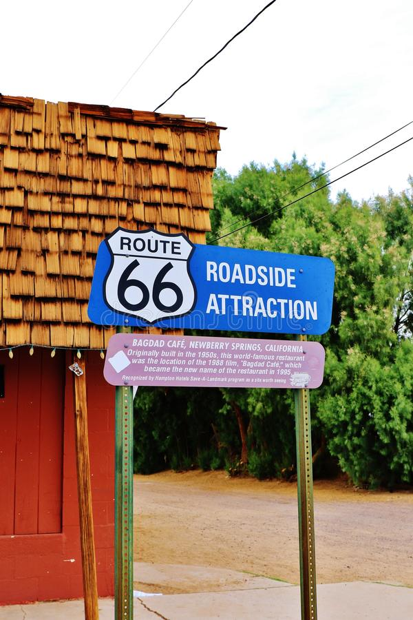 A stop at the Bagdad Cafe, on 66 historic road,California,America stock photography