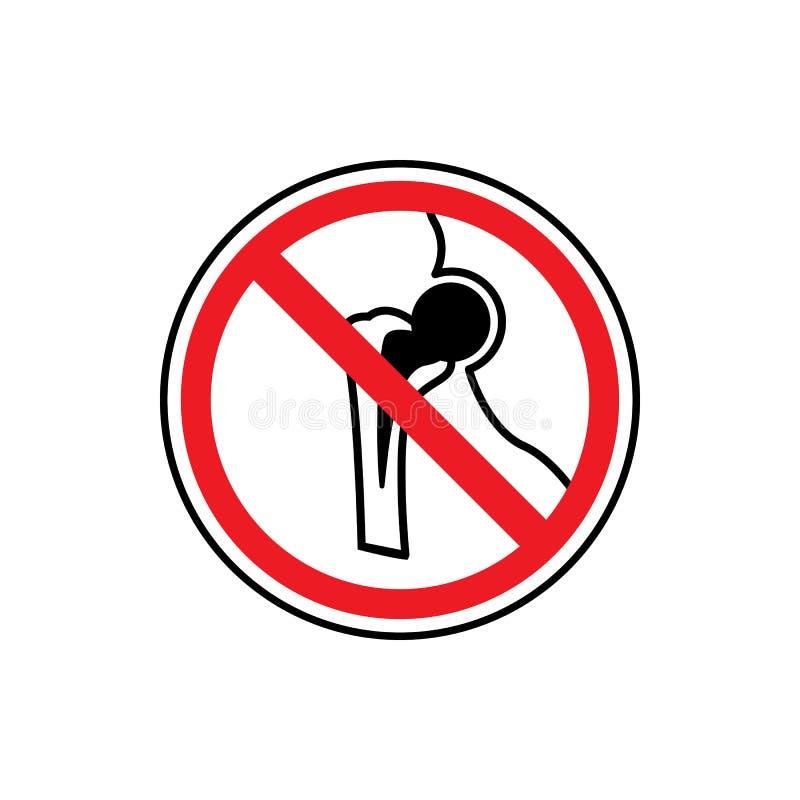Stop or ban sign. Bone fracture icon. Traumatology sign. Human bone break. Prohibition red symbol. Vector. Stop or ban sign. Bone fracture icon. Traumatology stock illustration