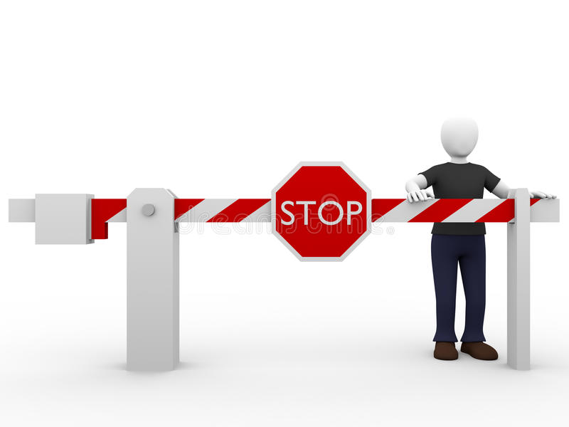 Stop barrier man. A man and a stop barrier. Security and safety concept royalty free illustration