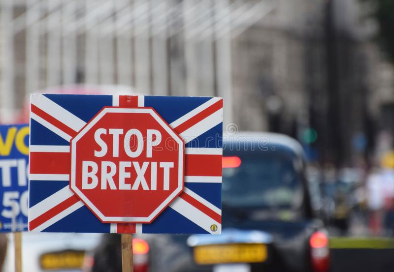 Stop Brexit Banner in London Westminster July 2019 stock photography