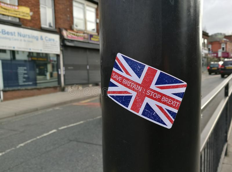 Stop Brexit Sticker in Manchester. An Anti-Brexit sticker on a lamppost in Manchester, Great Britain stock photo