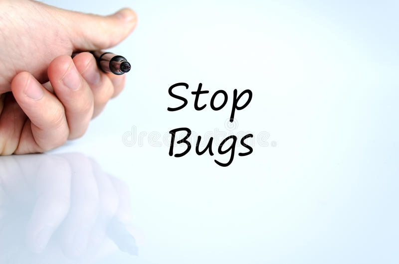 Stop bugs text concept. Over white background stock photo