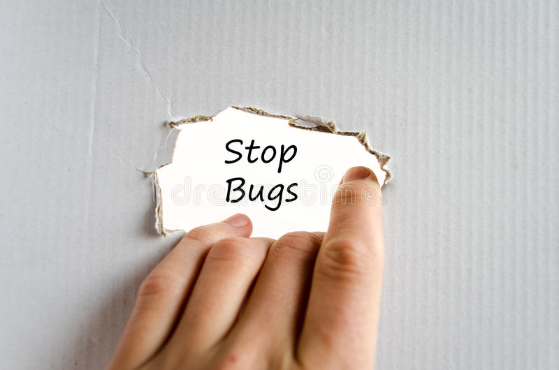 Stop bugs text concept. Over white background royalty free stock images