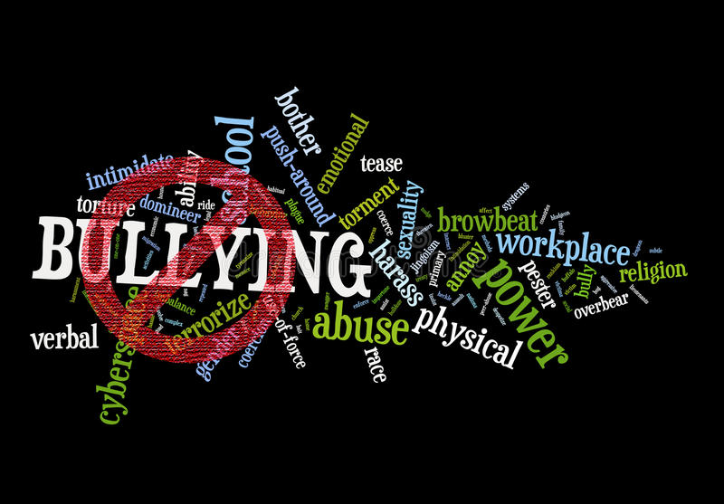 Stop Bullying. A cloud of words on bullying with a textured no or stop symbol over it. A campaign concept against it