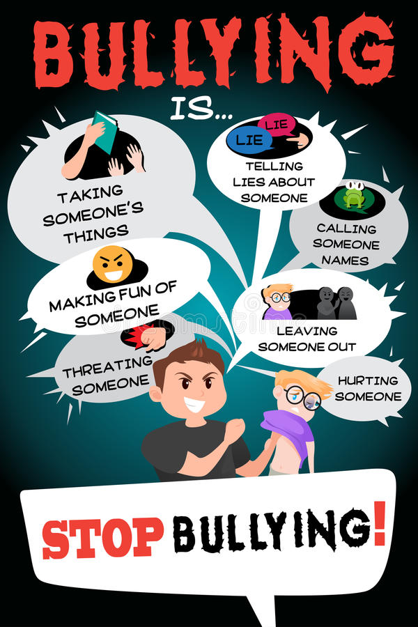 Stop Bullying Poster Infographic stock illustration