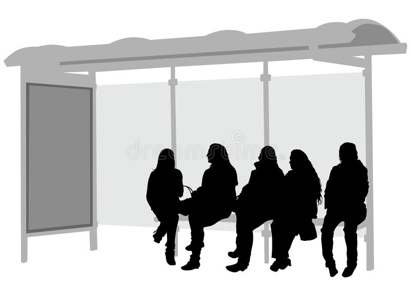 Stop bus women stock illustration