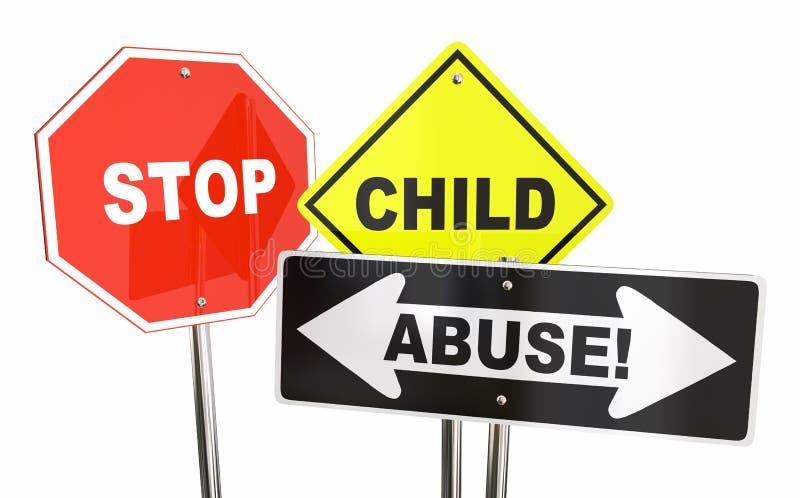 Stop Child Abuse Violence Kids Signs. 3d Illustration stock illustration