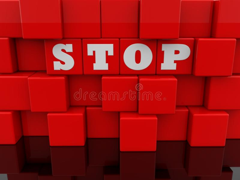 Stop concept on abstract wall of red toy cubes royalty free illustration