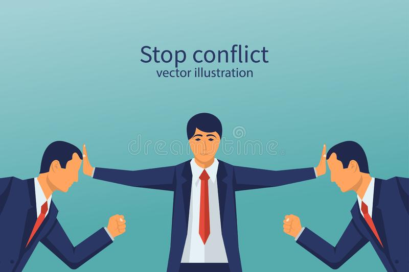 Stop conflict. Businessman referee finds compromise. royalty free illustration
