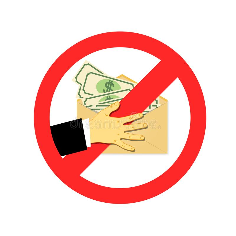 Stop corruption. The concept of the transfer of the money shadow. Money bribe. Hidden wages in the envelope without paying tax. stock illustration