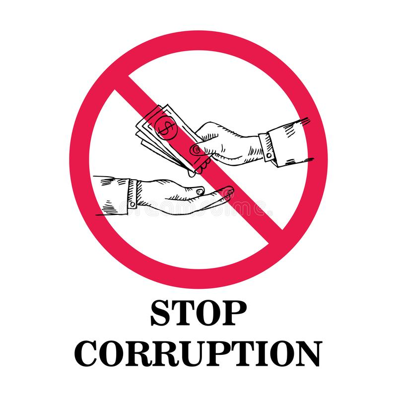 Stop Corruption concept. Vector illustration royalty free illustration