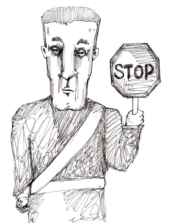 Download Stop Crossing Guard stock illustration. Illustration of caution - 11045792