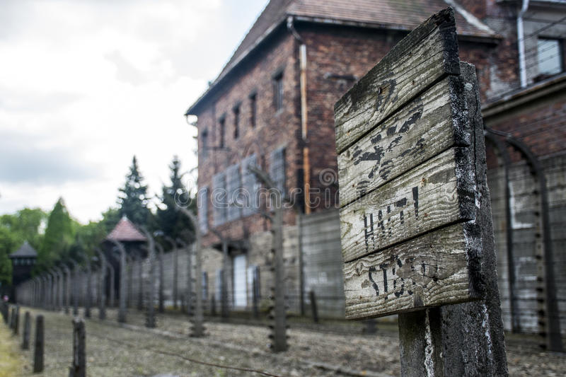 Stop death sign concentration camp Auschwitz Birkenau KZ Poland 2. Stop death sign at concentration camp Auschwitz Birkenau KZ Poland 2 stock photo