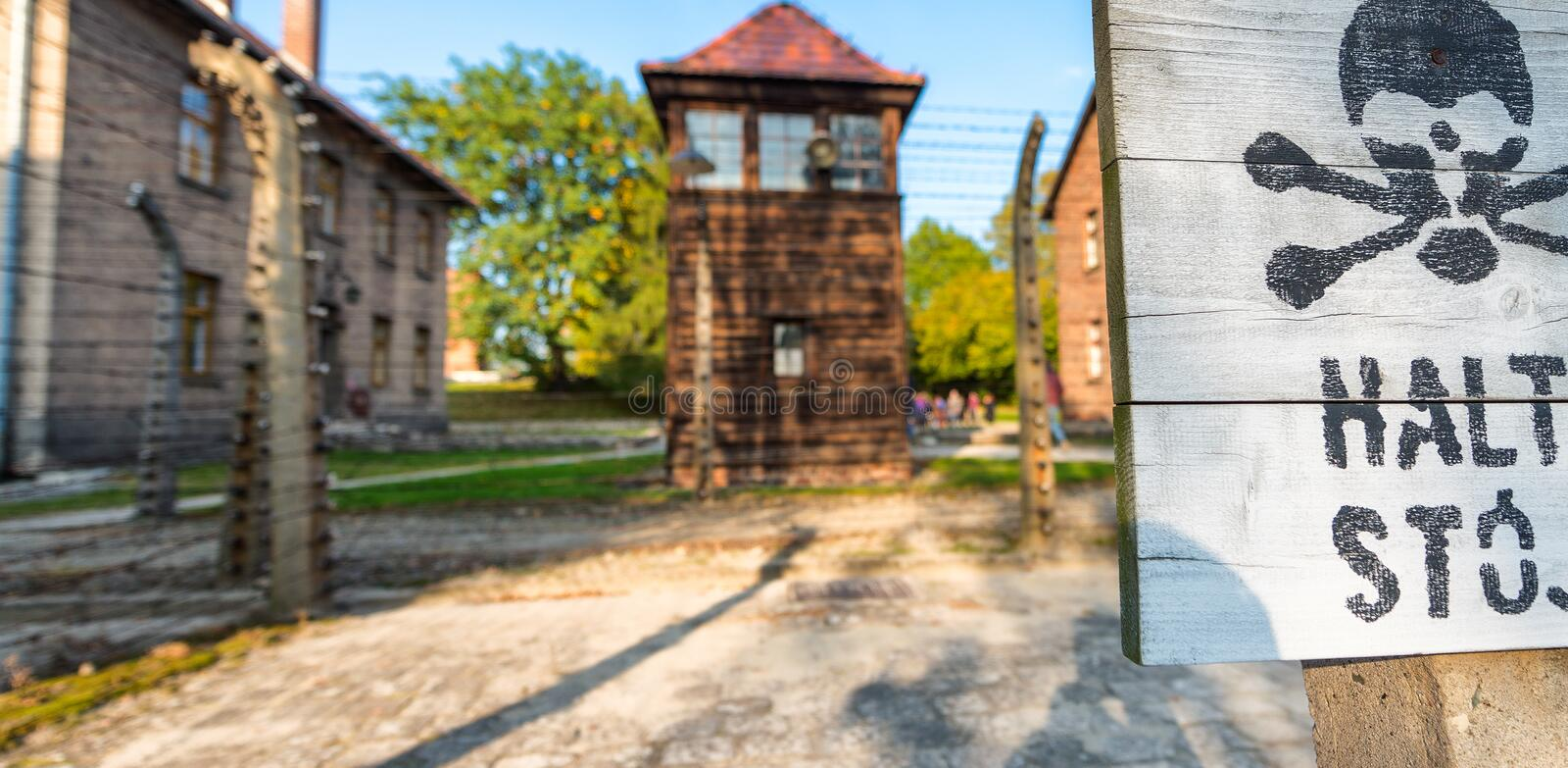 Stop death sign at concentration camp Auschwitz Birkenau Poland.  stock photo