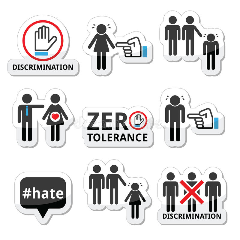 Stop discrimination of men, and women icons set. Vector icons set - zero tolerance for discrimination signs isolated on white royalty free illustration