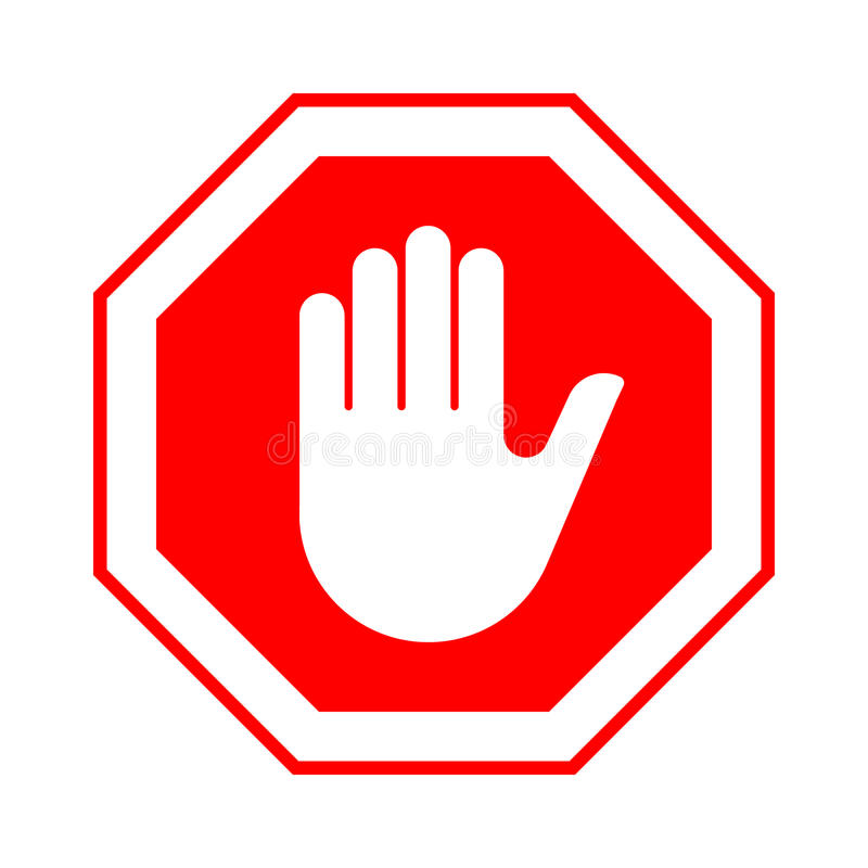 Stop do not enter stop red sign with hand. Vector illustration vector illustration