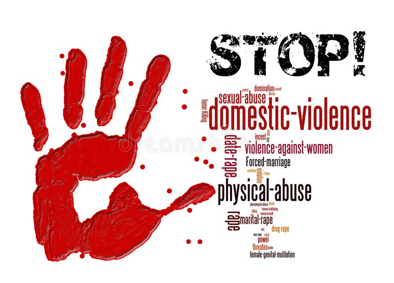 Stop domestic violence against women and girls stock illustration