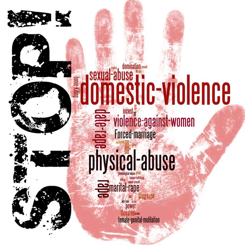 Stop domestic violence against women. With a red stop sign hand print royalty free illustration