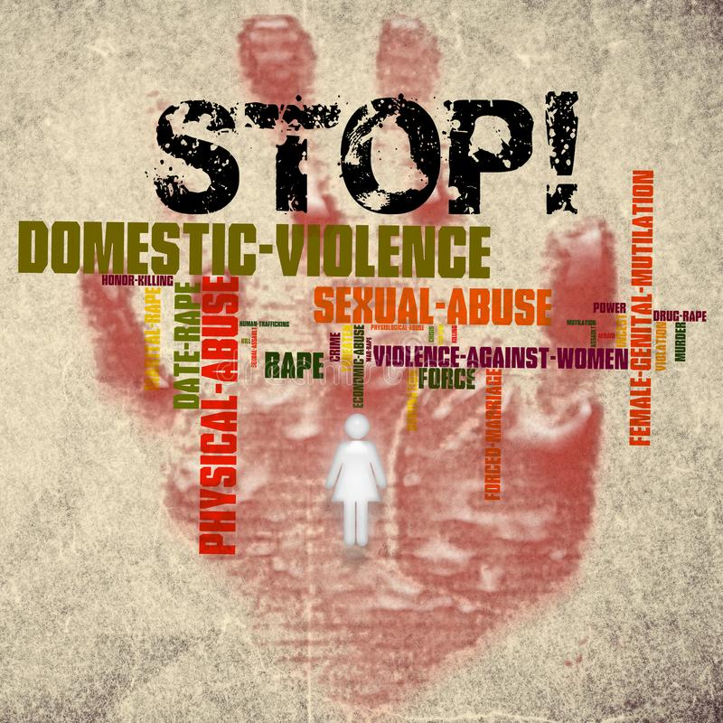 Stop domestic violence against women. With a red stop sign hand print stock image