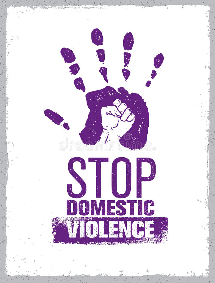Stop Domestic Violence Stamp. Creative Social Vector Design Element Concept. Hand Print With Fist Inside Grunge Icon. Stop Domestic Violence Stamp. Creative stock illustration