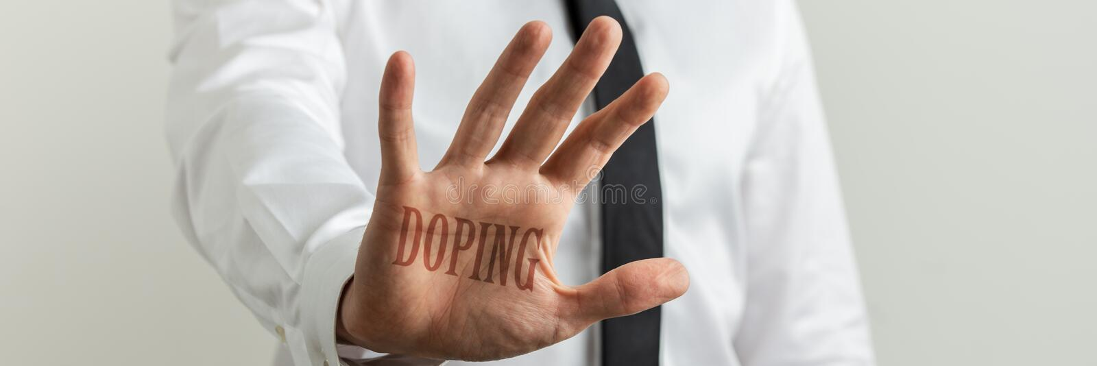 Stop doping sign stock image