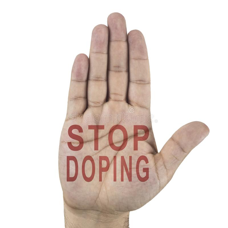 Stop Doping words written on male`s hand. Isolated on white background stock images