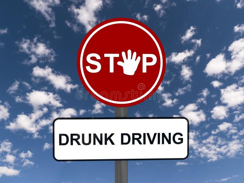 Stop drunk driving sign. S with white hand signaling, blue sky and clouds in the background stock photography