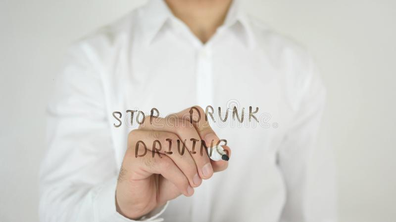 Stop Drunk Driving, Written on Glass royalty free stock image