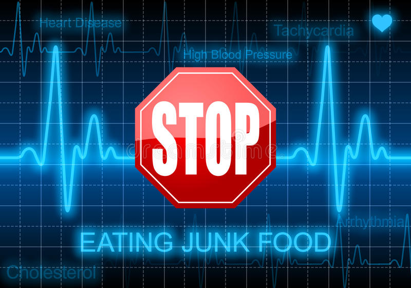Stop eating junk food - on blue heart rate monitor. Expressing warning on heart condition, unheathy diet royalty free illustration