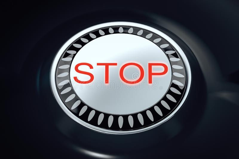 Stop and emergency concept. Creative round stop button on black background. Stop and emergency concept. 3D Rendering royalty free illustration