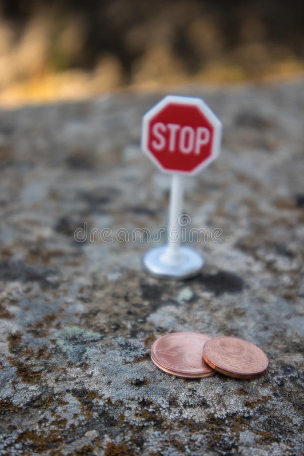 Stop euro cents. In the european community royalty free stock photo