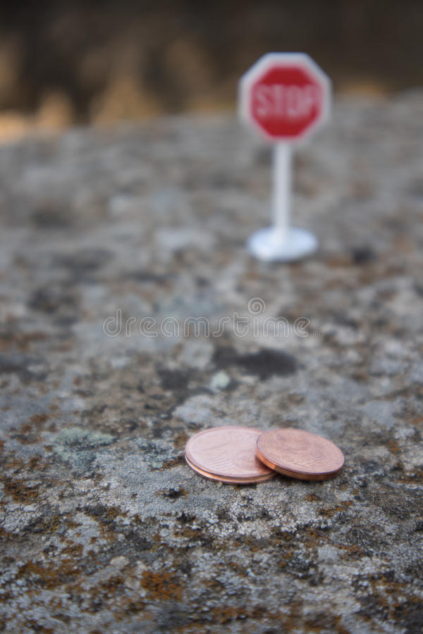 Stop euro cents. In the european community stock images