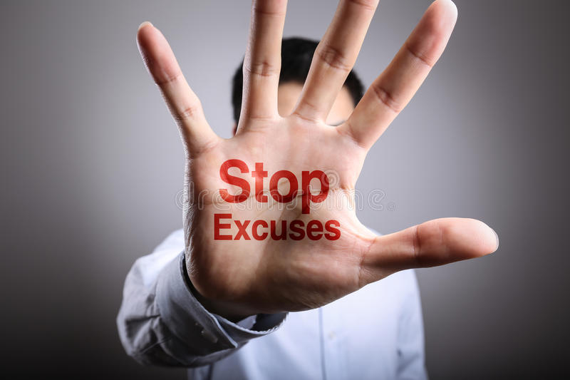 Stop Excuses Concept royalty free stock image