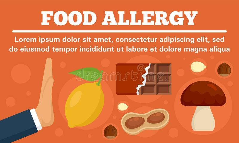 Stop food allergy concept banner, flat style. Stop food allergy concept banner. Flat illustration of stop food allergy vector concept banner for web design royalty free illustration