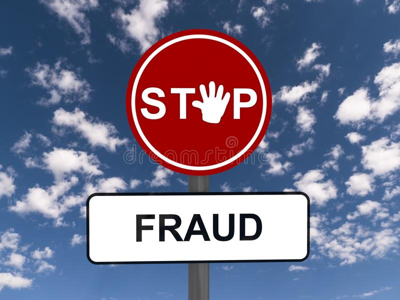 Stop fraud road sign. Red stop fraud road sign with blue sky and cloudscape background stock images
