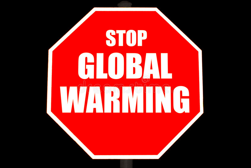 Download Stop Global Warming Sign Isolated On Black Stock Photo - Image: 8247794
