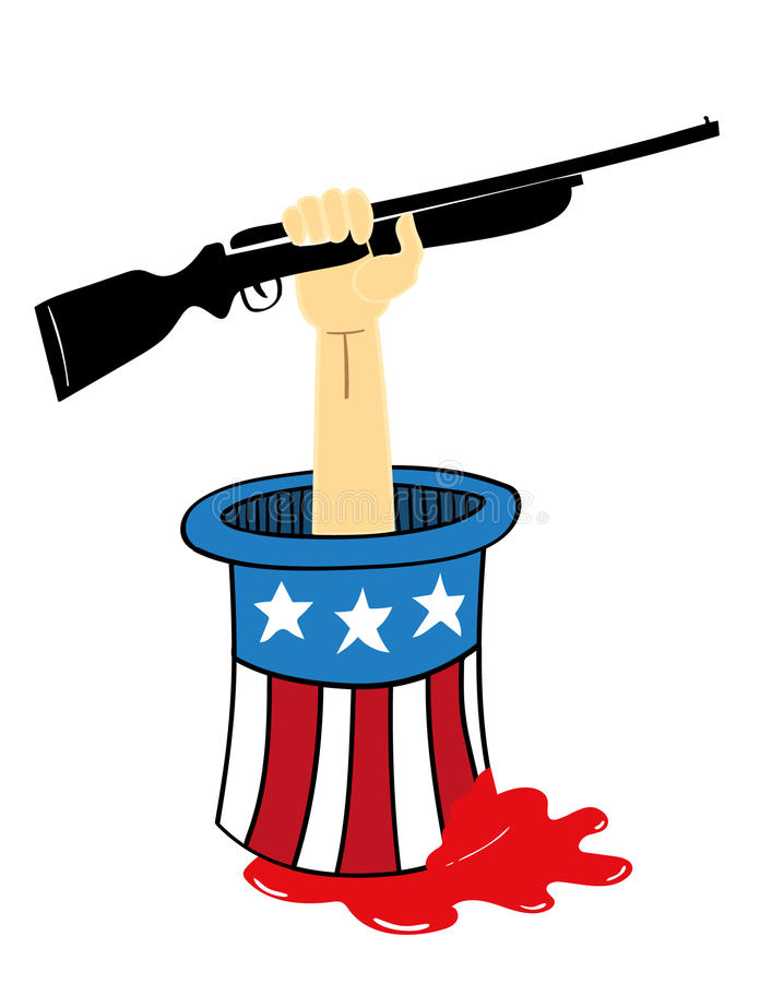 Stop Gun Violence. Uncle Sam top hat from which an arm holding a rifle is sticking out with blood seeping from the hat as a metaphor for gun violence and control stock illustration