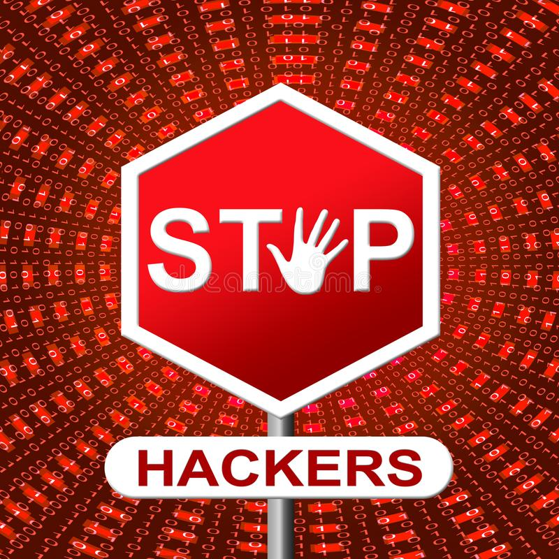 Stop Hackers Means Prevent Hacking 3d Illustration vector illustration