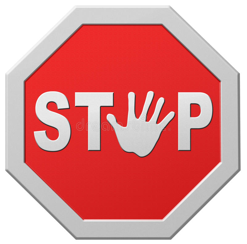 Stop Halt Red Warning Road Sign Stopping Royalty Free Stock Photography