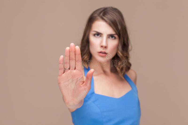 Stop, hand ban. Body language. Focus on hand royalty free stock photos