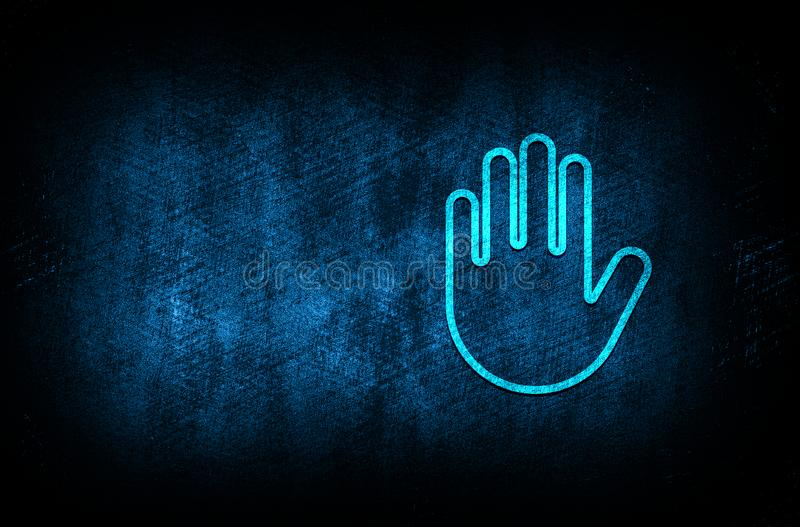 Stop hand icon abstract blue background illustration digital texture design concept. Stop hand icon abstract blue background illustration dark blue digital royalty free illustration