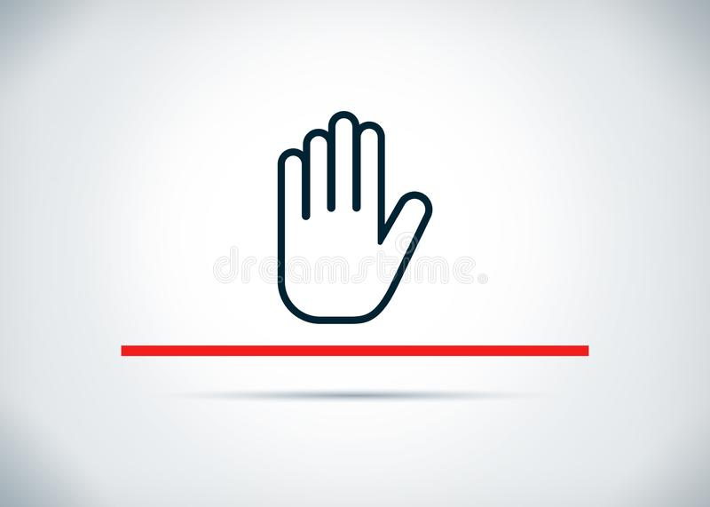 Stop hand icon abstract flat background design illustration. Stop hand icon isolated on abstract flat background design illustration stock illustration