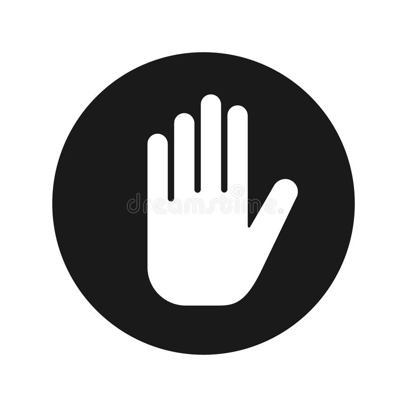Stop hand icon flat black round button vector illustration vector illustration
