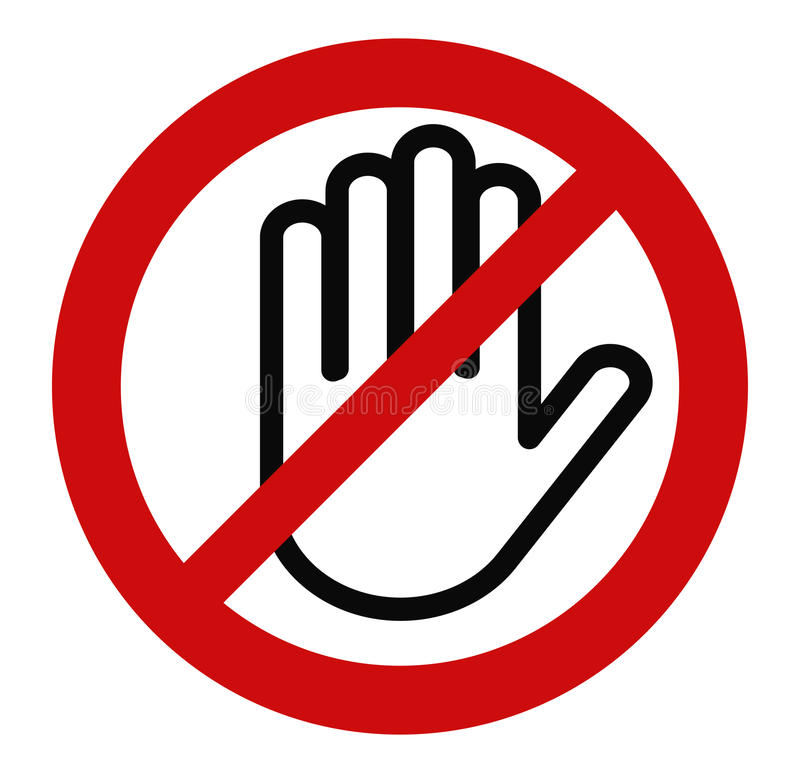 Stop hand, No entry stock illustration