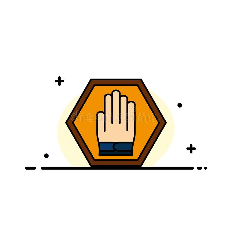 Stop, Hand, Sign, Traffic, Warning  Business Flat Line Filled Icon Vector Banner Template stock illustration