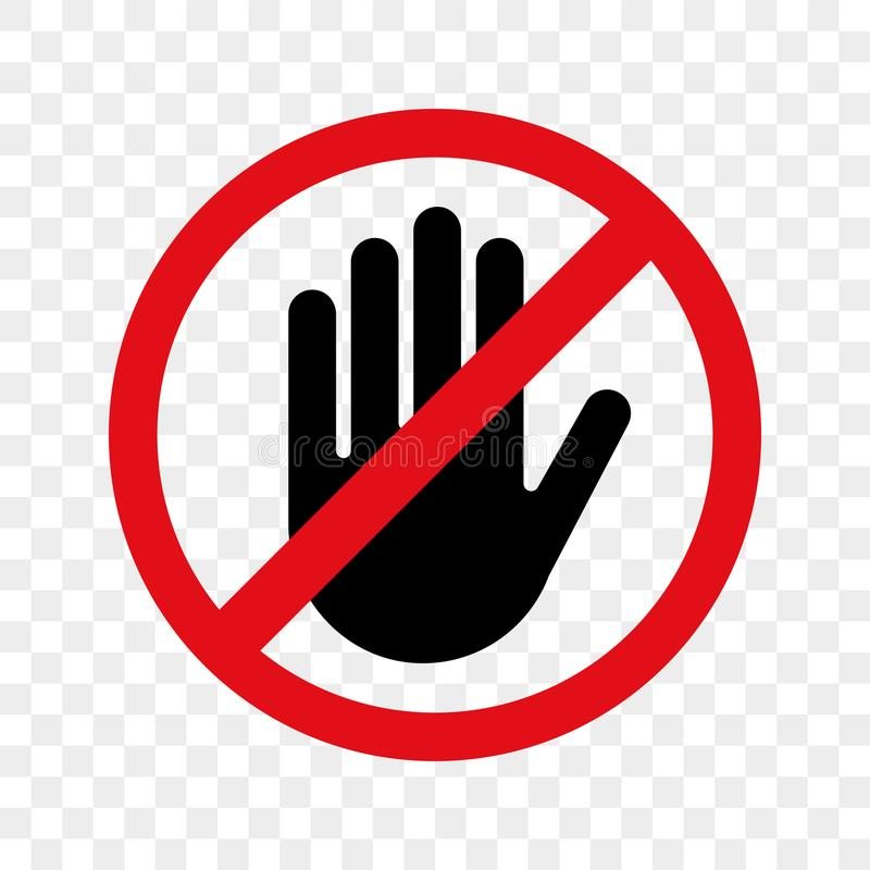 Stop hand sign vector no entry icon stock illustration