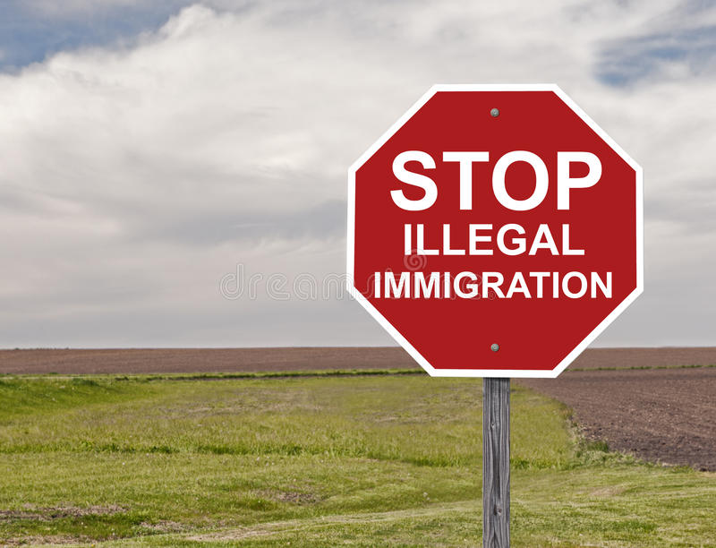 Stop Illegal Immigration. Stop Sign Asking To Halt Illegal Immigration royalty free stock photography