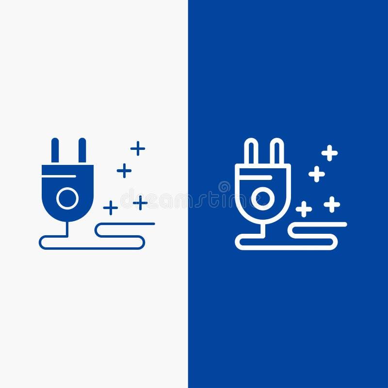 Stop, Kabel, Marketing Lijn en Lijn van de het pictogram Blauwe banner van Glyph de Stevige en Stevige het pictogram Blauwe banne royalty-vrije illustratie