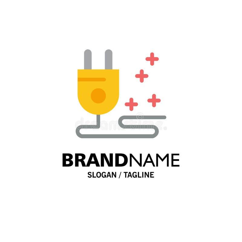 Stop, Kabel, Marketing Zaken Logo Template vlakke kleur vector illustratie
